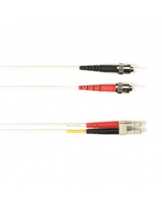 Black Box FO Patch Cable Col 10Gbit Multi-m - White LC-ST 5m valokuitukaapeli OFNR OM3 Valkoinen Black Box FOCMR10-005M-STLC-WH