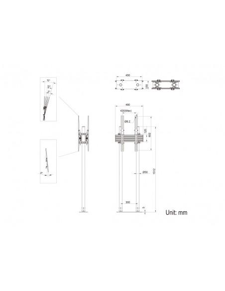 "Multibrackets M Dual Pole Floormount Pro B2B 65""-90"" Multibrackets 7350073738977 - 12"
