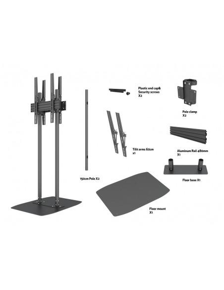 "Multibrackets M Dual Pole Floorbase Pro B2B 65""-90"" Multibrackets 7350073738984 - 6"