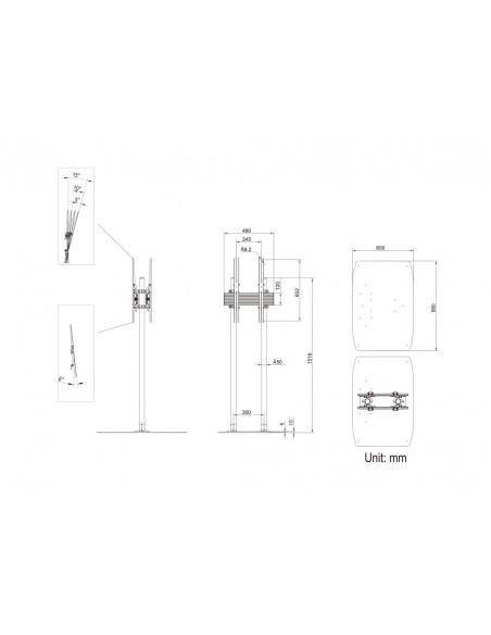 "Multibrackets M Dual Pole Floorbase Pro B2B 65""-90"" Multibrackets 7350073738984 - 12"