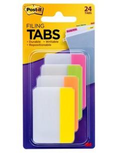 Post-It Tabs, 2 inch Solid, Assorted Bright Colors, 6/Color, 4 24/Pk itsekiinnittyvä liuska Vihreä, Oranssi, Vaaleanpunainen 3m