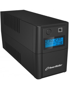 PowerWalker VI 850SE LCD/IEC UPS-virtalähde Linjainteraktiivinen 850 VA 480 W 4 AC-pistorasia(a) Bluewalker 10120092 - 1