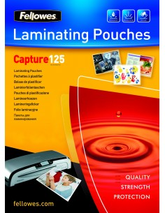 Fellowes A6 Glossy 125 Micron Laminating Pouch - 100 pack Fellowes 5307201 - 1
