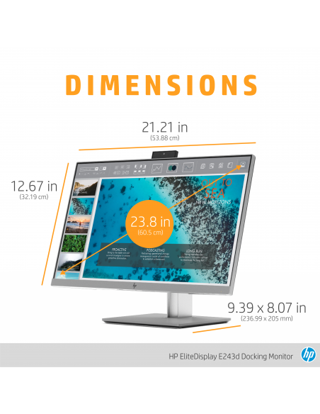 "HP EliteDisplay E243d 60.5 cm (23.8"") 1920 x 1080 pikseliä Full HD LED Harmaa, Hopea Hp 1TJ76AA#ABB - 14"