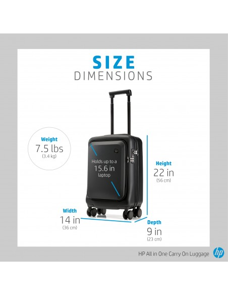 HP All in One Carry On Luggage Trolley Black Acrylonitrile butadiene styrene (ABS), Polycarbonate Hp 7ZE80AA - 8