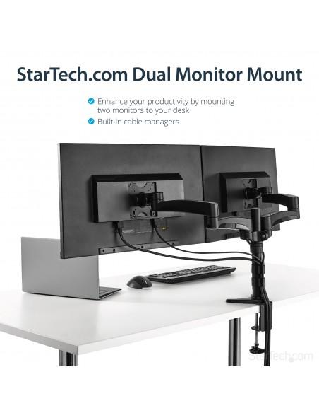 "StarTech.com ARMDUAL monitorin kiinnike ja jalusta 61 cm (24"") Puristin Musta Startech ARMDUAL - 10"