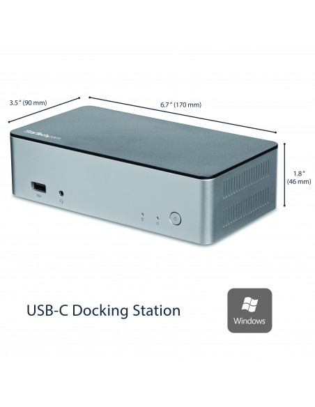 StarTech.com USB-C-dockningsstation för dubbla skärmar Windows med 2.5 tums SATA SSD/HDD-hårddiskfack Startech MST30C2HDPPD - 10