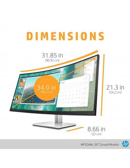 "HP E344c 86.4 cm (34"") 3440 x 1440 pixlar Quad HD Silver Hp 6GJ95AA#ABB - 12"