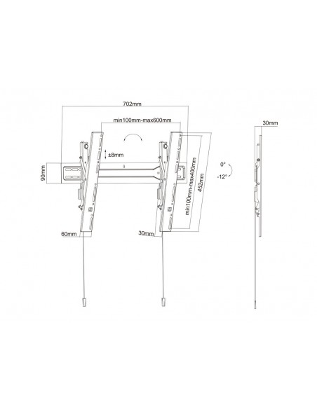 """Multibrackets 5549 TV-kiinnike 190.5 cm (75"""") Musta Multibrackets 7350073735549 - 19"""