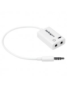 StarTech.com White headset adapter for headsets with separate headphone / microphone plugs - 3.5mm 4 position to 2x 3 M/F Starte
