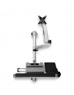 StarTech.com Wall Mount Workstation - Articulating Standing Desk w/ Ergonomic Height Adjustable Monitor Arm & Padded Keyboard St