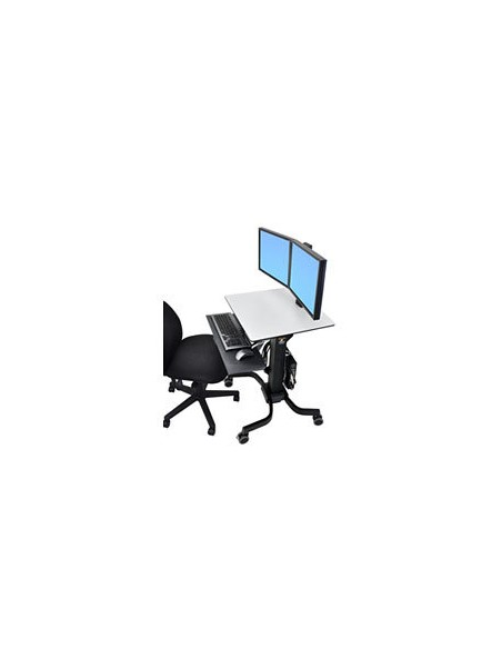 Ergotron WorkFit-C, Dual Sit-Stand Black, Grey Flat panel Multimedia cart Ergotron 24-214-085 - 3