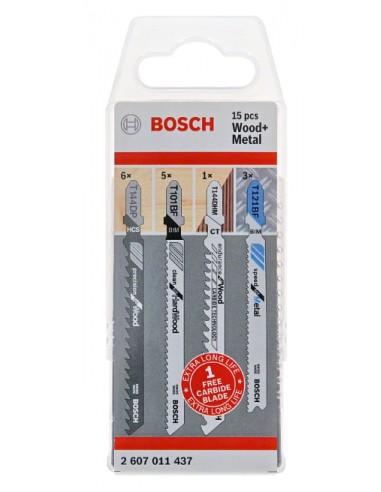 Bosch 2 607 011 437 sågblad till sticksåg, dekupörsåg och tigersåg Figursågblad 15 styck Bosch 2607011437 - 1