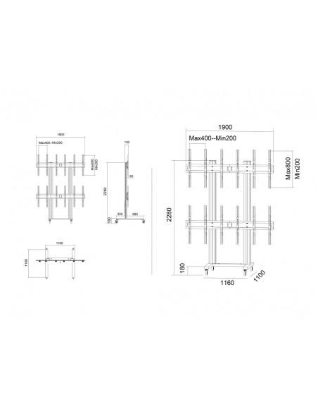 Multibrackets M Public Video Wall Stand Portrait 6-Screens 40-55'' Black Multibrackets 7350073731824 - 19