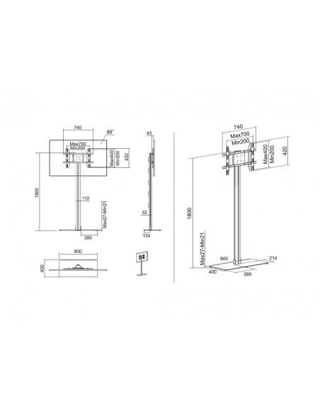 Multibrackets M Display Stand 180 Single Silver w. Floorbase Multibrackets 7350073732418 - 19