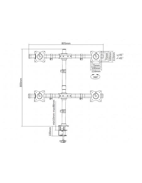 """Multibrackets 3316 fäste och ställ till bildskärm 68.6 cm (27"""") Klämma/Genomgående skruv Svart Multibrackets 7350073733316 - 19"""