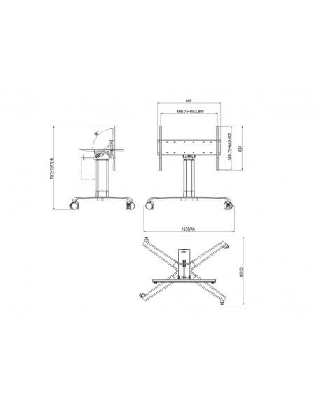 """Multibrackets 3927 kyltin näyttökiinnike 2.13 m (84"""") Hopea Multibrackets 7350073733927 - 10"""