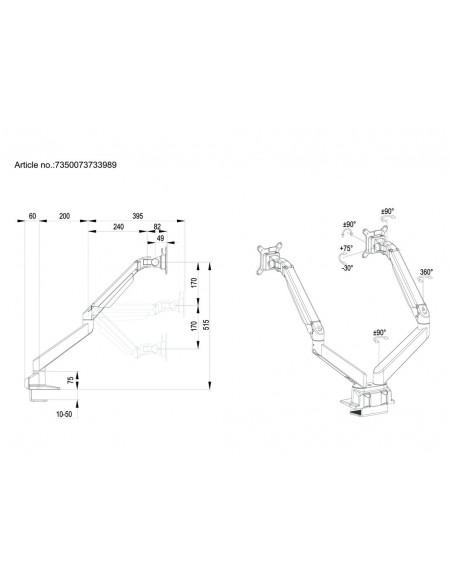 """Multibrackets 3989 monitorin kiinnike ja jalusta 81.3 cm (32"""") Puristin Valkoinen Multibrackets 7350073733989 - 20"""
