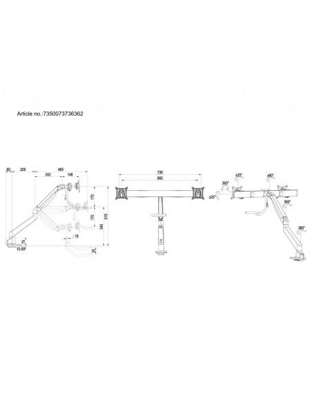 Multibrackets M VESA Gas Lift Arm w. Duo Crossbar 2 Silver Multibrackets 7350073736362 - 20