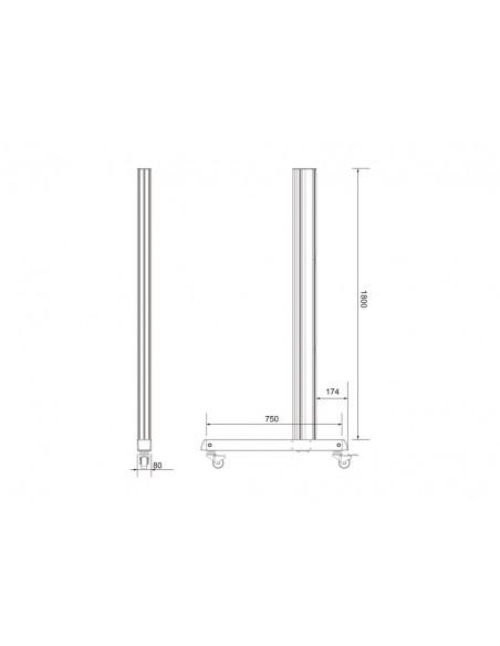 Multibrackets M Pro Series - Wheelbase 180cm inc castors Multibrackets 7350073736591 - 8