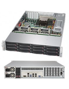 Supermicro 6028R-E1CR12H Intel® C612 LGA 2011 (Socket R) Rack (2U) Svart Supermicro SSG-6028R-E1CR12H - 1